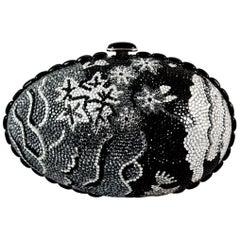 Judith Leiber Black Grey and Silver Rhinestone Egg Clutch