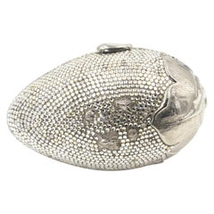 Judith Leiber Floral & Insect Oval Silver Crystal Minaudière Evening Bag