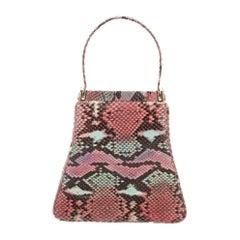 Judith Leiber Pink Python Gold Evening Small Mini Top Handle Satchel Flap Bag