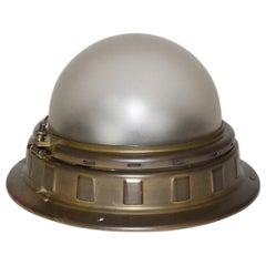 Jugendstil Brass Glass Vintage Ceiling Light Flushmount by Otto Wagner, Vienna