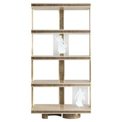 Jumbo Collection Shinto Bookcase in Wood and Brass Base