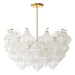 Kalmar 'Tulipan' Chandelier Pendant Light, Glass Brass, 1970