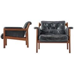 Karl-Erik Ekselius Lounge Chairs in Black Leather and Teak