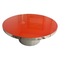 Karl Springer Red Stainless Steel Dining Table