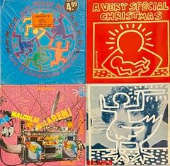 Rare Original Keith Haring Record Art (Set of 4 works)