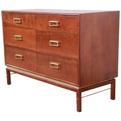 Kipp Stewart for Drexel Sun Coast Cherry and Brass Dresser or Credenza, Restored