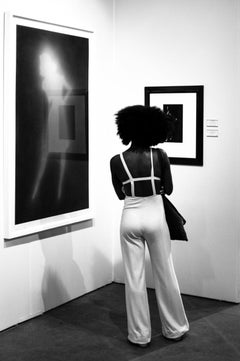 Woman and Art, Chicago, Framed Black and White Photo of Woman Looking at Art