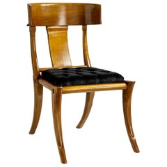 Klismos Walnut Wood Saber Legs Black Velvet Dining Chairs, Customizable