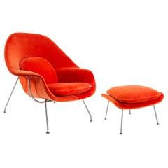 """Knoll Eero Saarinen Vintage """"Womb"""" Chair and Ottoman"""