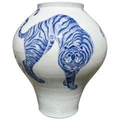 Korean Blue and White Porcelain Vase with Cat Design
