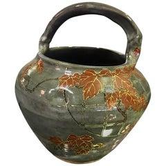 Korean Glazed Ceramic Signed Stamped Flower Pottery Bowl Pot
