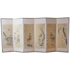 Korean Six-Panel Screen of Legendary Chinese Figures