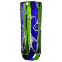 Kosta Vase by Vicke Lindstrand with Abstract Decoration of Birds, Sweden