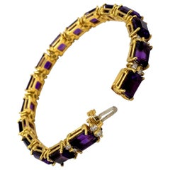 La Triomphe Gold Amethyst and Diamond Bracelet