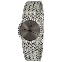 Ladies Piaget Watch with Slate Grey Dial, Diamond Bezel and Unique Braided Band