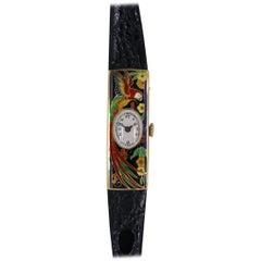 Ladies yellow gold Enamel Parrot Wristwatch