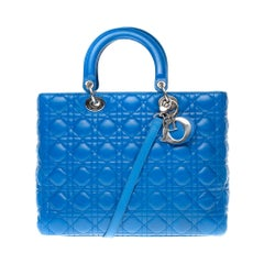 Lady Dior GM (Grand Modèle) handbag with strap in bleu roi leather