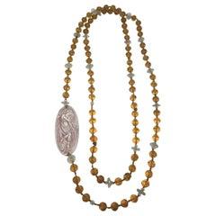 Lalique Art Deco Art Glass Plaque on Lalique Beaded Amber Glass Necklace