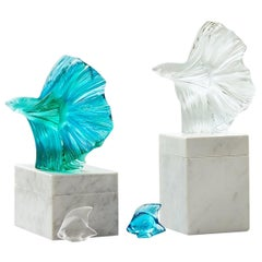 Lalique Fighting Fish Small Sculpture Clear Crystal