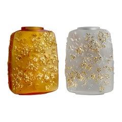 Lalique Fleurs De Cerisier Vase Amber Crystal Gold Stamped