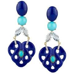 Lapis, Turquoise, Aquamarine and Diamond Ear Pendants