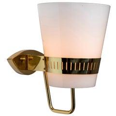 Large 1950s Stilnovo Brass and Glass Sconce