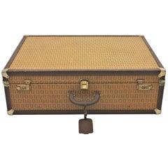 Large 1970s Fendi Zucca Pattern Epi Leather Vintage Luxury Hard Trunk Suitcase
