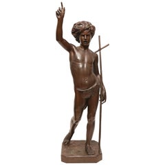 Large 19th Century Bronze Sculpture of John the Baptist by Paul Dubois, 1861