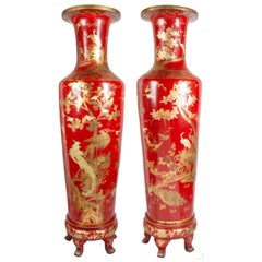 Large and Decorative Pair of Chinoiserie Papier-Mâché Vases