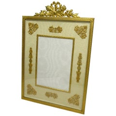 Large Antique French Ormolu Bronze Portrait Photo Picture Frame, 19th Century