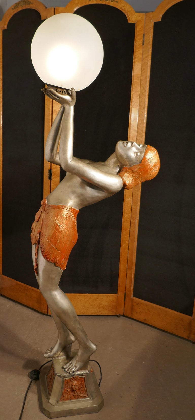 """Large Art Deco female sculpture floor lamp, after Auguste Moreau signed   The large and charming lady sculpture is signed A. Moreau on the front of her leg  This large Classic lamp is cast in """"Pewter coloured"""" cast brass with cold painted hair"""