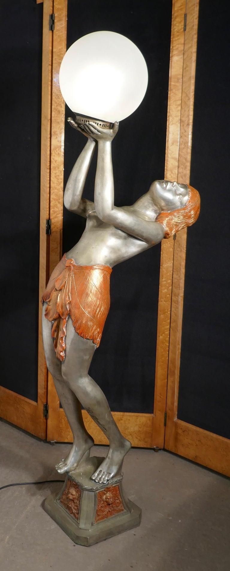 Large Art Deco Female Sculpture Floor Lamp, after Auguste Moreau Signed For Sale 1
