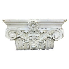 Large Beaux Arts Glazed and Fired Terracotta Corinthian Capital