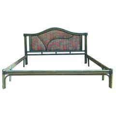 Large Bed Italgiungo Italian Design 1970 Green Blue Rattan Bamboo Geometric