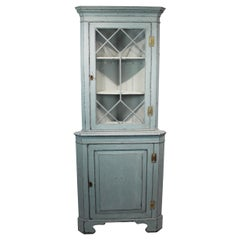 Large Blue Painted Gustavian Corner Cabinet from the 1880s