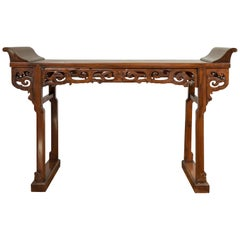 Large Chinese Qing Dynasty Everted Flange Altar Console Table with Carved Apron