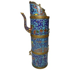 Large Chinese Sino Tibetan Cloisonné Tea Pot Vessel 中国藏族古董