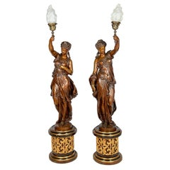 Large Classical Floor Standing Bronze Female Statues / Lamps, 19th Century