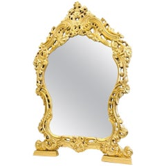 Large Console Mirror Hollywood Regency Style Gilded Wood Vintage, Italy, 1970s
