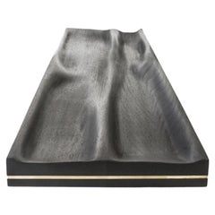 Large Contemporary Carved Walnut Ebonized Tray with Brass Accent