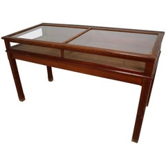 Large Display Table Vitrine in Patinated Pine and Glass, France 1920s