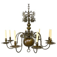 Large Dutch or Flemish Baroque Chandelier in Bronze with Eight Arms, circa 1700