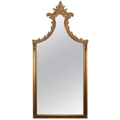 Large French Louis XV Giltwood Shaped and Foliate Wall Mirror, circa 1930