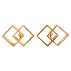 Large Gold Geometric Cufflinks, Designer Sarah Coventry Men's Cufflinks