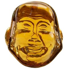 Large Gold Plated Golden Glass Asian Face Statement Ring