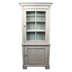 Large Grey Painted Gustavian Glass Cabinet from circa 1860s