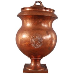 Large Hammered Copper Covered Urn with Coat of Arms/Lions, Swedish, circa 1820