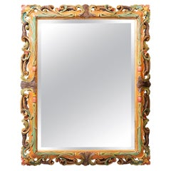 Large Hand Carved Wooden Multi-Color Italian Wall Mirror