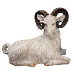 Large Italian Hand Painted Ceramic Ram, 1950s