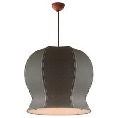 Large Hand-Stitched Linen and Solid Brass Tulip 620 Pendant Lamp by Wende Reid